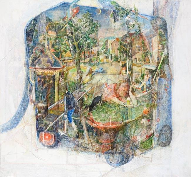 Christian Weihrauch . Sonntag, 2010, Buntstift auf Karton, 40,6 x 43,7 cm