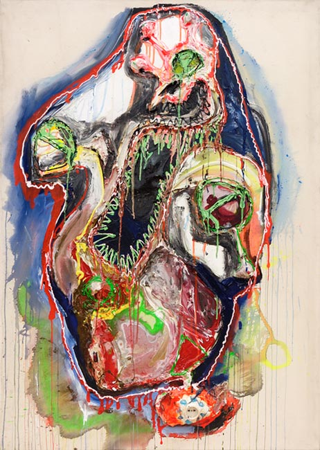 Dennis Bannert . Coulomb, 2009, Acrylfarbe, Acryl, Lack und Elektromaterial (Leuchtdioden usw.) auf Leinwand, elektrifiziert, 140 x 100 cm