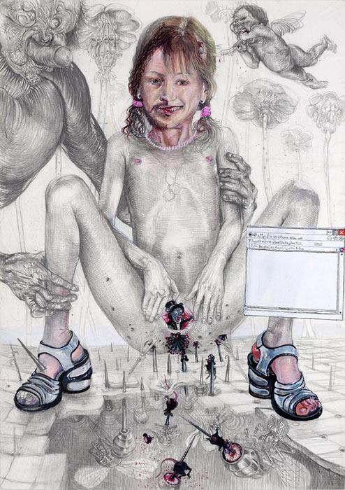 Peter Feiler . CP mit AD-Aspekten, 2013, Bleistift und Acryl auf Papier, 29,7 x 21,0 cm