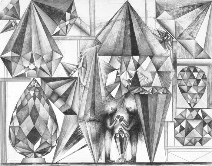 Sebastian Gögel . Geschäft, 2005, Bleistift auf Papier, 50 x 65 cm