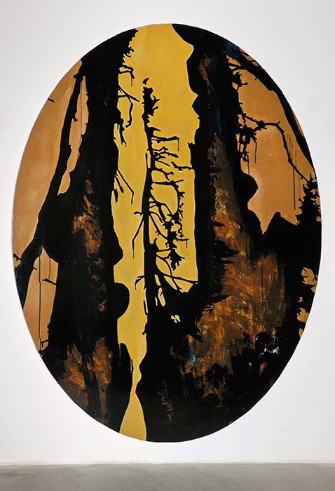 Thomas Moecker . Oval 1  2009  acrylic, varnish on wood  250 x 180 cm