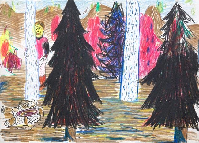 Tobias Hild . ohne Titel, 2011, Bleistift und Buntstift auf Papier, 23,9 x 33,2 cm